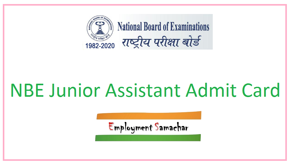 NBE Junior Assistant Admit Card