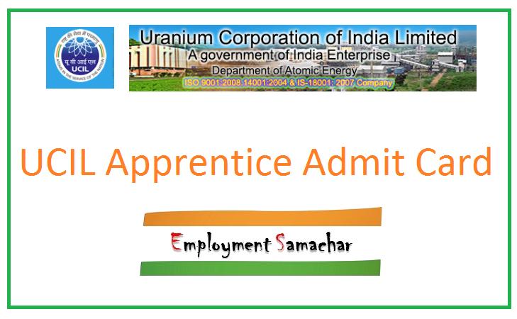 UCIL Apprentice Admit Card