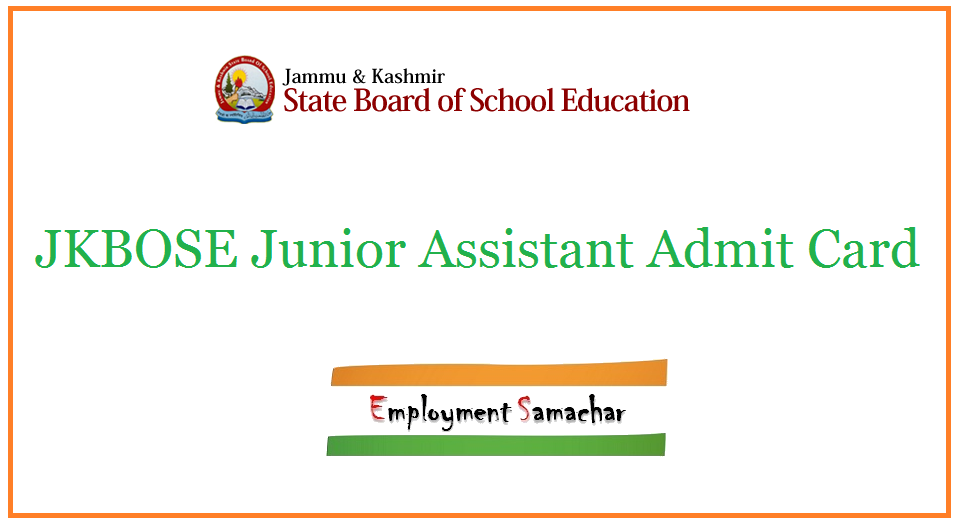 JKBOSE Junior Assistant Admit Card