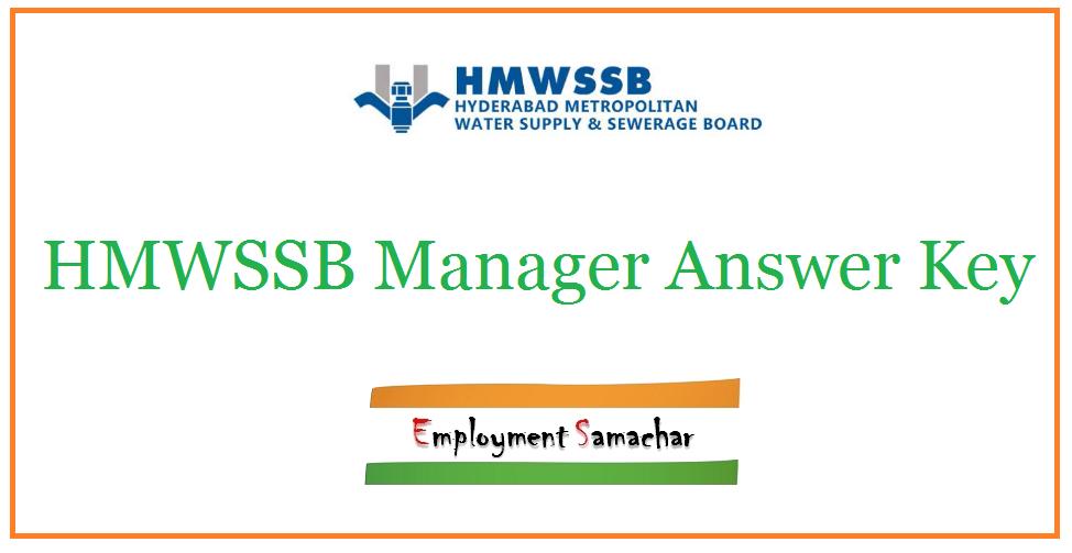 HMWSSB Manager Answer Key