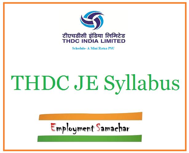 THDC JE Syllabus