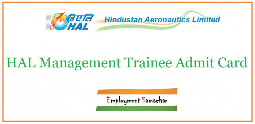 HAL Management Trainee Admit Card