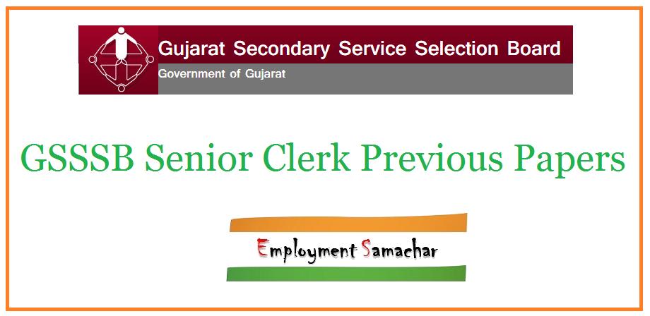 GSSSB Senior Clerk Previous Papers