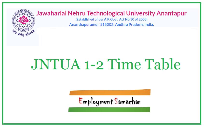 JNTUA 1-2 Time Table