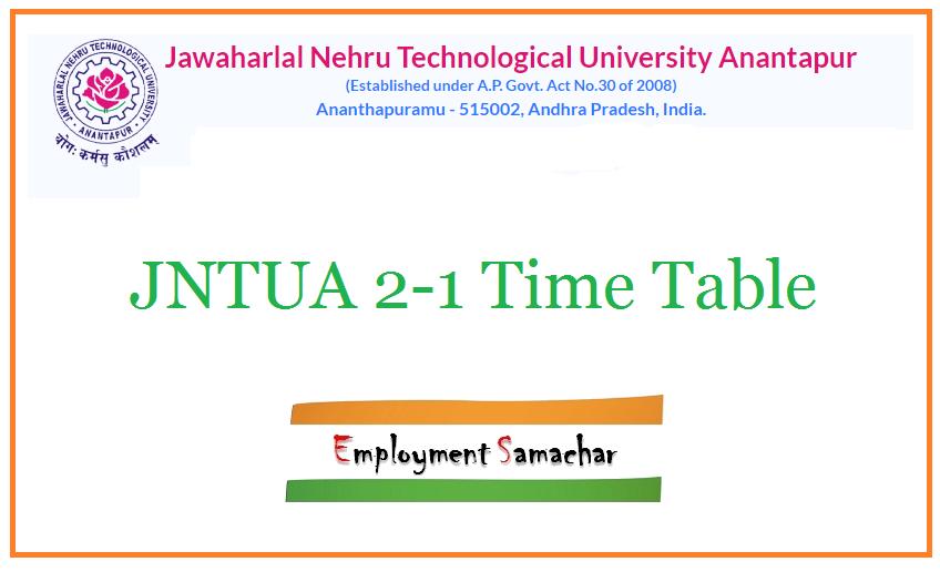 JNTUA 2-1 Time Table