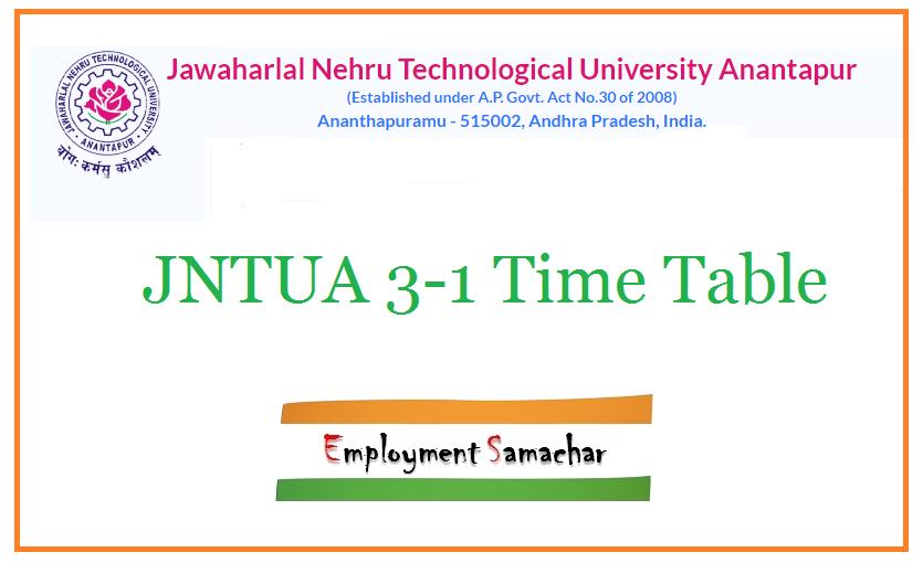 JNTUA 3-1 Time Table