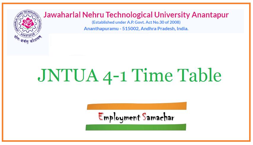 JNTUA 4-1 Time Table
