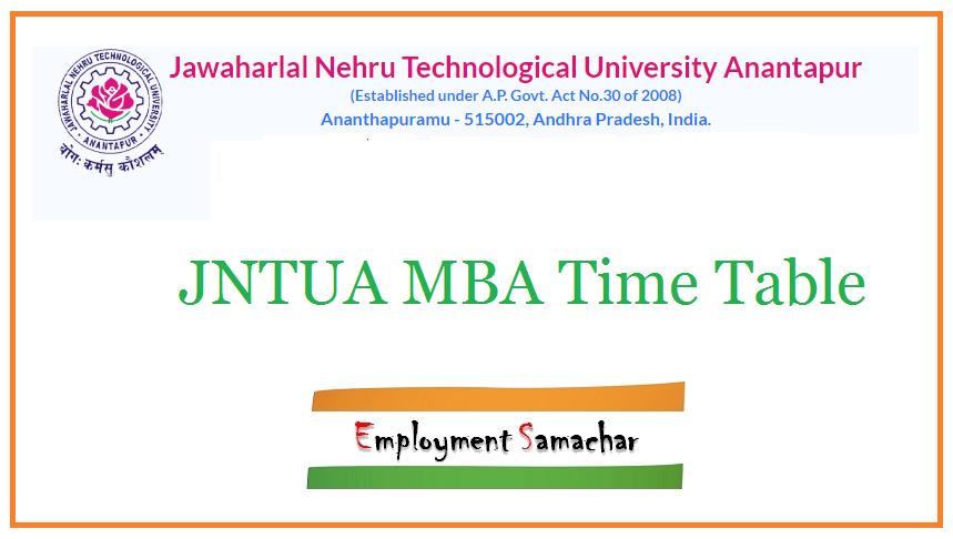 JNTUA MBA Time Table